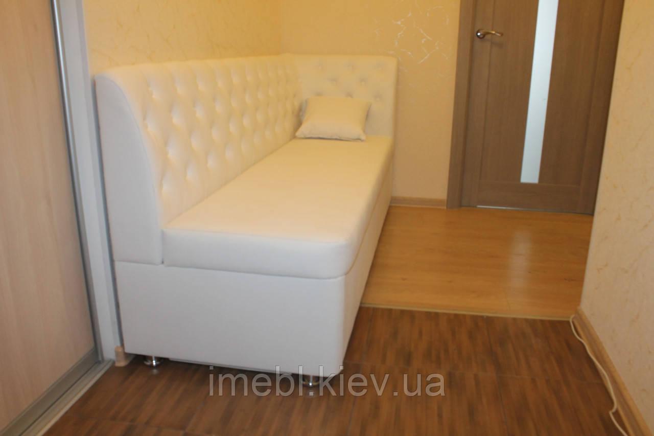 Лавка м'яка на кухню зі спальним місцем за розміром (Біла)