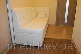 Лавка мягкая на кухню со спальным местом по размеру (Белая)