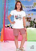 Детский комплект футболка+шорты для девочки Турция. VOGUE 20009 10/11. Размер на 10-11 лет.