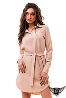 Платье рубашка до колен с воротником и поясом, закрытые рукава марсала, бежевое , цвета пудры, светлое розовое