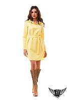 Платье рубашка до колен с воротником и поясом, закрытые рукава марсала, красное, желтое