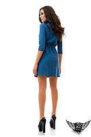 Платье джинс рванка на пуговицах,  до колен рукав до локтя темно-синее, голубое