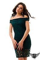 Платье гипюр открытые плечи зеленое, темно-зеленое, цвета бутылка, молоко, черное, пудра