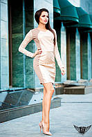 Приталенное платье выше колена бежевое