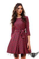 Платье джинс с ватиновым подъюбником и поясом, бордо, бордовое платье, белое, красное, ментоловое, желтое и цвета пудра, пудры,
