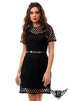 Платье приталенное средней длины сшитое, шитье в дырочку, платье шитье в кружочек, черное и другие цвета