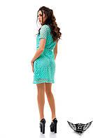 Платье бирюзовое, ментоловое, минт шитье на подкладке, платье в кружочек, в дырочку