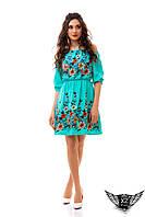 Платье лён, вышивка, платье со льна с вышивкой, лето, голубое платье,  ментоловое, ментоловый, минт