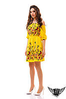 Летнее платье лён, платье со льна, желтое, и другие цвета, короткий рукав, платье до колен