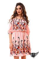 Платье лён, со льна, с вышивкой и открытыми плечиками, розовое, пудра, цвета пудры,  рукав до локтя