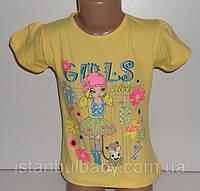 """Детская одежда оптом (Турция).Футболка """"Girls"""" на девочку 3,4,5,6,7 лет 100 % cotton (полномерный)"""