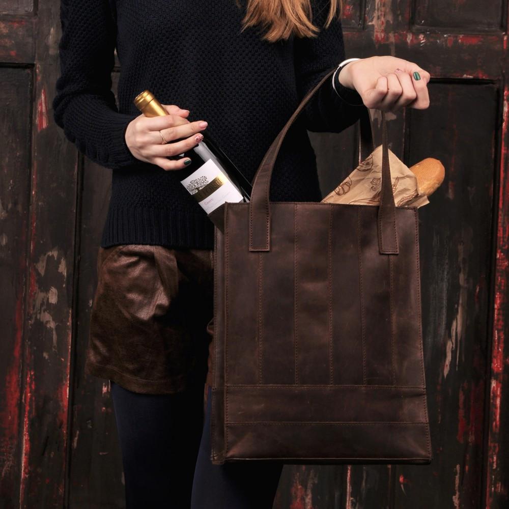 """Стильна, містка сумка з натуральної шкіри """"Бетсі"""" кольору горіх ..."""