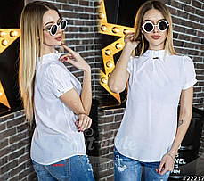 Отличная блузка с коротким рукавом-фонариком. Она имеет небольшой воротник-стойку, и драпировку., фото 3
