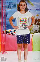 Детский комплект футболка+шорты для девочки Турция. VOGUE 20007 6/7. Размер 6-7 лет.