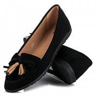 Туфли  женские с бахромой черные 40 р-р
