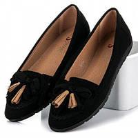 Туфли  женские с бахромой черные 39 р-р