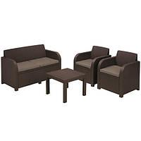 Комплект мебели садовой коричневый (2 кресла и диван)