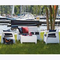 Комплект мебели садовой белой (2 кресла и диван)