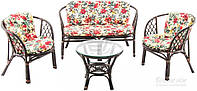 Комплект мягкой садовой мебели из натурального ротанга (2 стула и диван  + стол круглый)