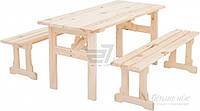 Комплект складной садовой мебели из дерева (2 лавочки и стол)