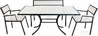Комплект складной садовой мебели из дерева белое (2 кресло, диван и стол)