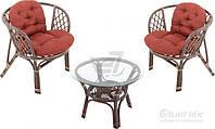 Комплект садовой мебели из натурального ротанга (2 кресла и круглый столик)
