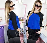 Шикарная шифоновая блузка свободного кроя. Блузка выполнена в комбинации двух цветов.