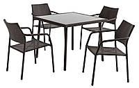 Набор  мебели для сада и кафе (4 стула и квадратный столик из искусственного ротанга)