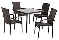 Набор мебели для сада и кафе из ротанга искусственного   (4 стула и квадратный столик)