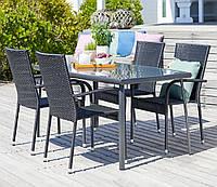 Комплект мебели для сада и кафе (4 кресла + большой стол из стекла и метала)