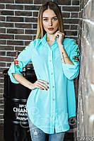 Легкая шифоновая рубашка с вышивкой. Длинная рубашка на пуговичках, с классическим воротником.