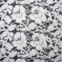 Ткань микромасло принтованное (цветное) - белые цветы на черном фоне