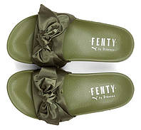 Женские тапочки с бантом Puma x Rihanna Womens Fenty Slides 'Bow' Olive (Пума Рианна Фенти) оливковые