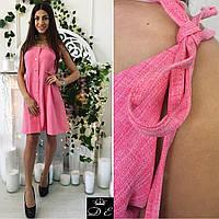 Женское короткое платье на завязках