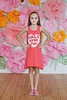Летнее подростковое платье  из хлопка,кораллового цвета