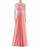 Выпускное длинное вечернее платье розовое с американской проймой
