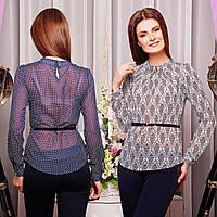 Шифоновая блузка с ремешком без застежки