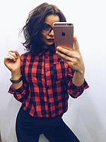 Рубашка женская в красную клетку