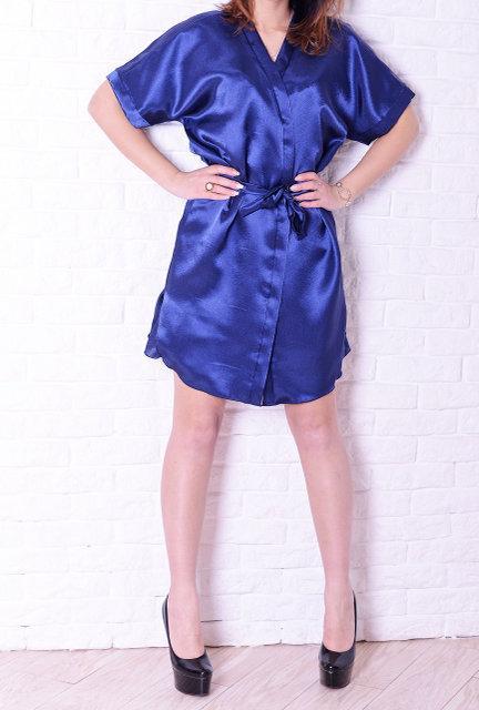 ef3a1eb169807cb ... Шелковая ночная рубашка и халат, синего цвета, хорошего качества, фото 3