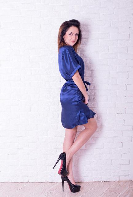 f810b5d44caddf4 Шелковая ночная рубашка и халат, синего цвета, хорошего качества ...