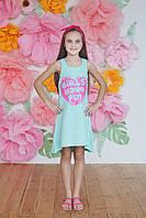 Летнее подростковое платье  из хлопка,мятного цвета
