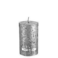 Свеча декоративная цилиндр 60х100мм рустик серебряная, фото 1