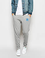 Теплые молодежные спортивные штаны Adidas Адидас серые (РЕПЛИКА)