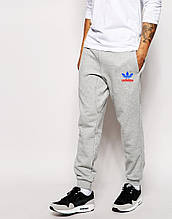 Спортивные штаны мужские Adidas Адидас серые (РЕПЛИКА)