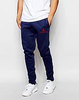 Трикотажные спортивные штаны Джордан Jordan темно-синие (РЕПЛИКА)