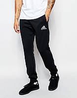 Утепленные спортивные штаны мужские Adidas Адидас черные (РЕПЛИКА)