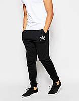 Утепленные мужские спортивные штаны Adidas Адидас черные (РЕПЛИКА)