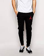 Трикотажные спортивные штаны Джордан Jordan черные (РЕПЛИКА)