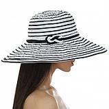 Шляпа синяя женская в полоску с моделируемыми полями, фото 4