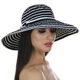 Шляпа синяя женская в полоску с моделируемыми полями, фото 3